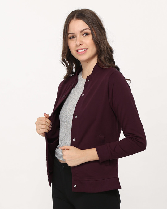 Shop Burgundy Buttoned Bomber Jacket-Back