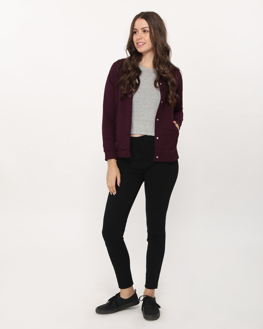 Shop Burgundy Buttoned Bomber Jacket-Full