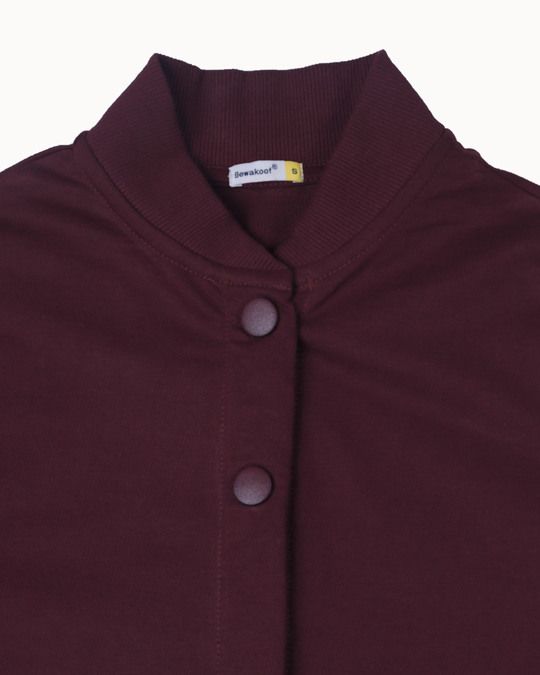 Shop Burgundy Buttoned Bomber Jacket