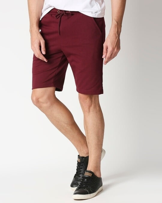 Shop Burgundy Casual Shorts-Front
