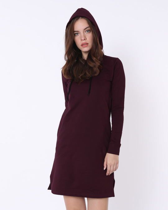 Shop Burgundy Fleece Hoodies Dress-Front
