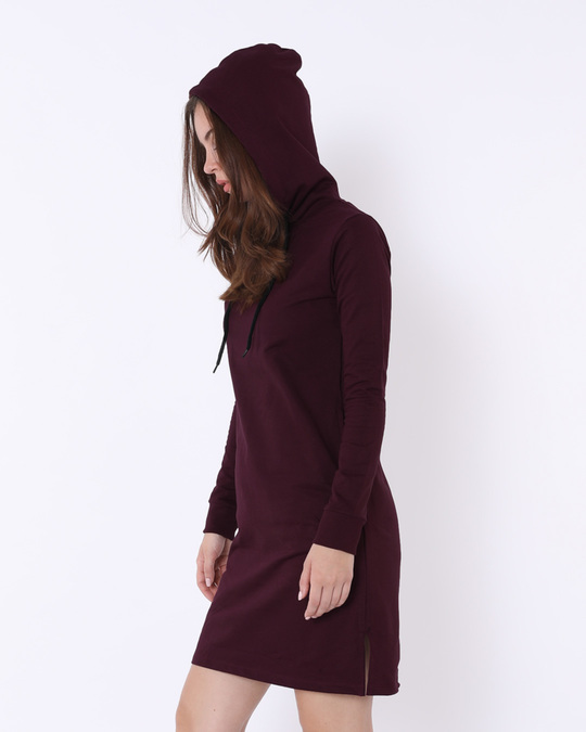 Shop Burgundy Fleece Hoodies Dress-Back