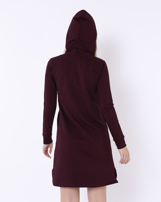 Shop Burgundy Fleece Hoodies Dress-Design