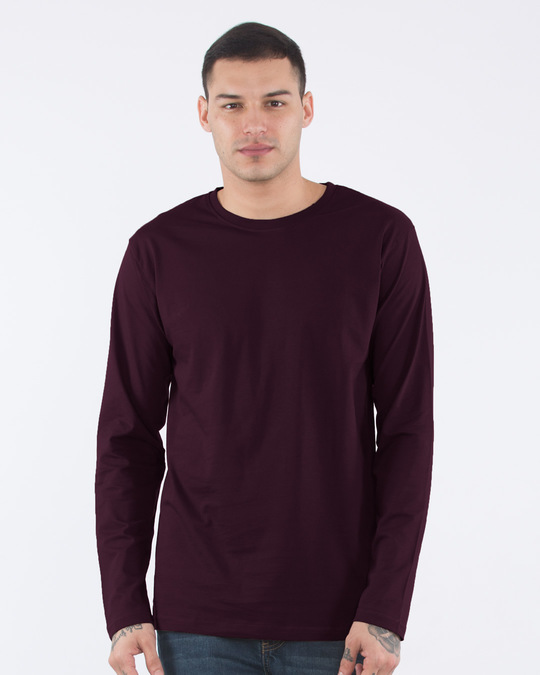 Shop Burgundy Full Sleeve T-Shirt-Front