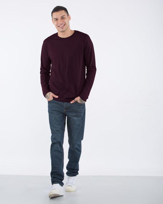 Shop Burgundy Full Sleeve T-Shirt-Full