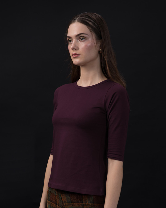 Shop Burgundy Round Neck 3/4th Sleeve T-Shirt-Back