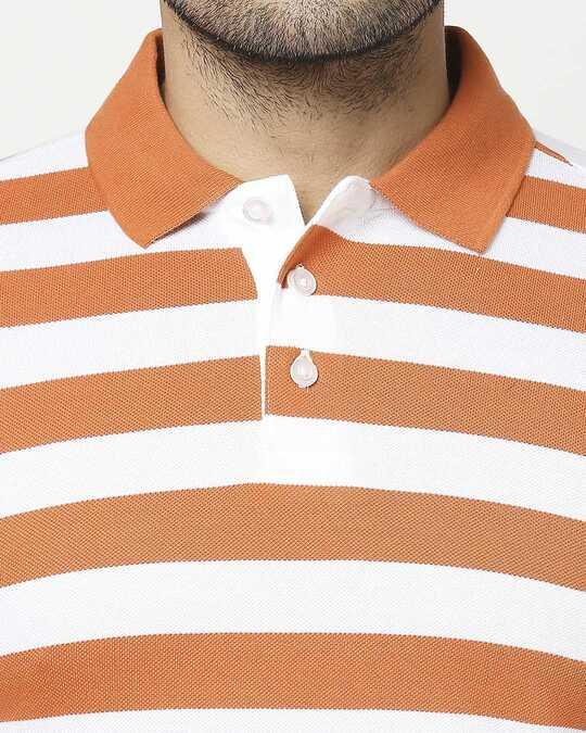 Shop Burnt Orange & White Half Sleeve Stripes Polo
