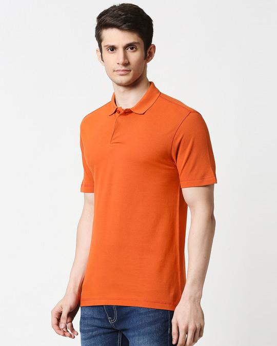 Shop Burnt Orange Half Sleeve Contrast Polo-Design
