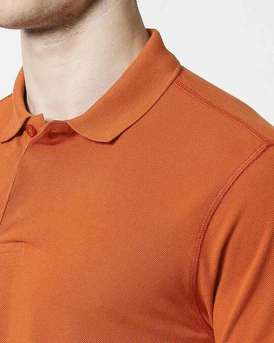 Shop Burnt Orange Half Sleeve Contrast Polo