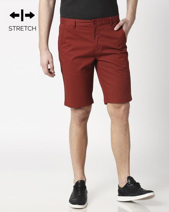 Shop Burnt Red Textured Men's Shorts-Front