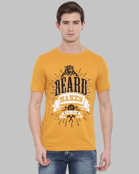 Shop Beard Makes Us Real Man Printed T Shirt-Front