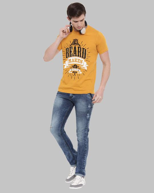 Shop Beard Makes Us Real Man Printed T Shirt-Full