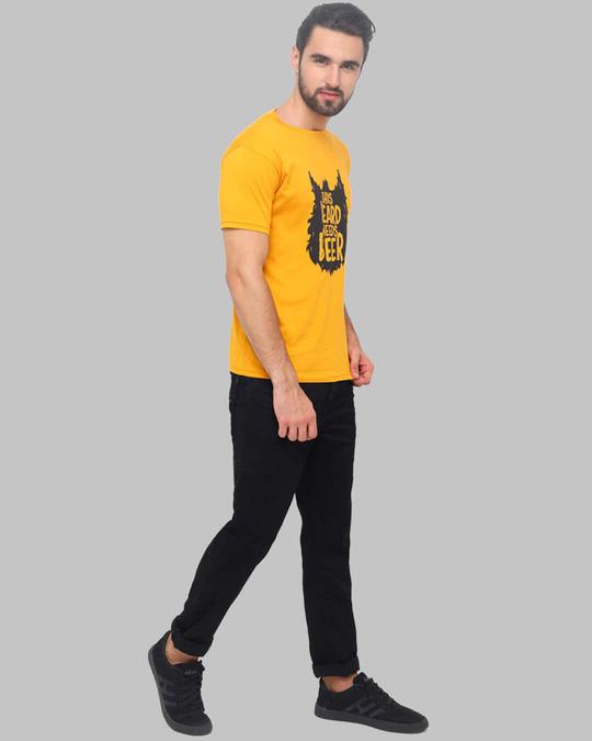 Shop Beard Needs Beer Printed T Shirt-Full