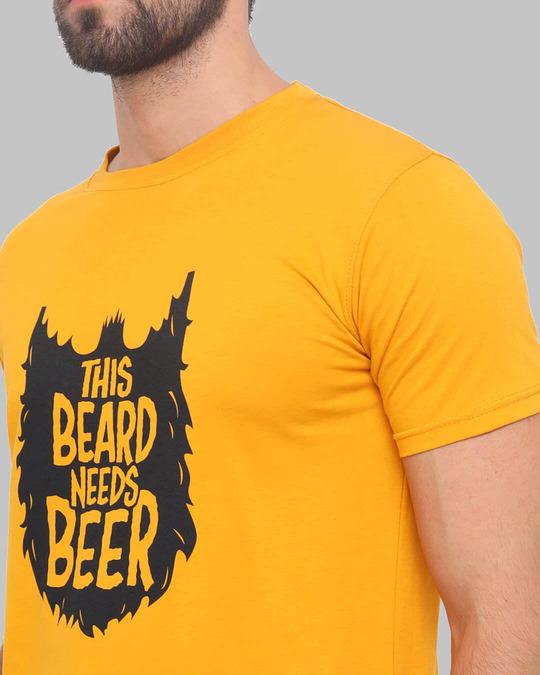 Shop Beard Needs Beer Printed T Shirt