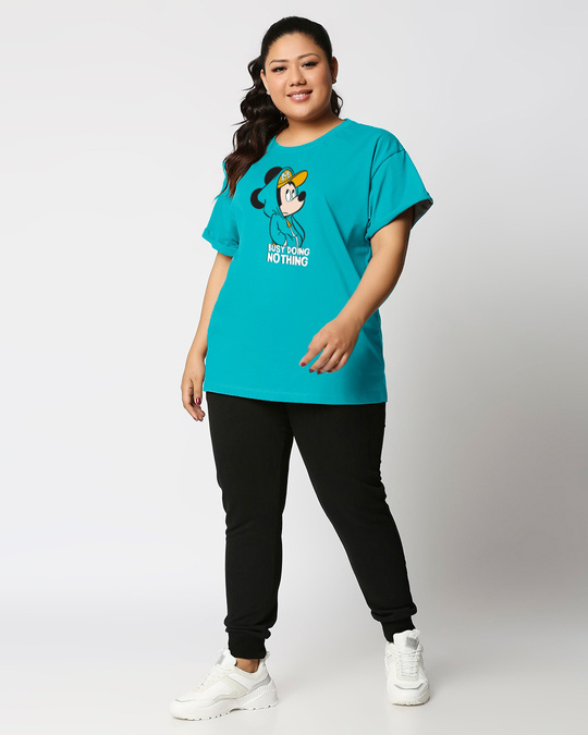 Shop Busy Doin Nothing Boyfriend Printed T-Shirt Plus Size-Design