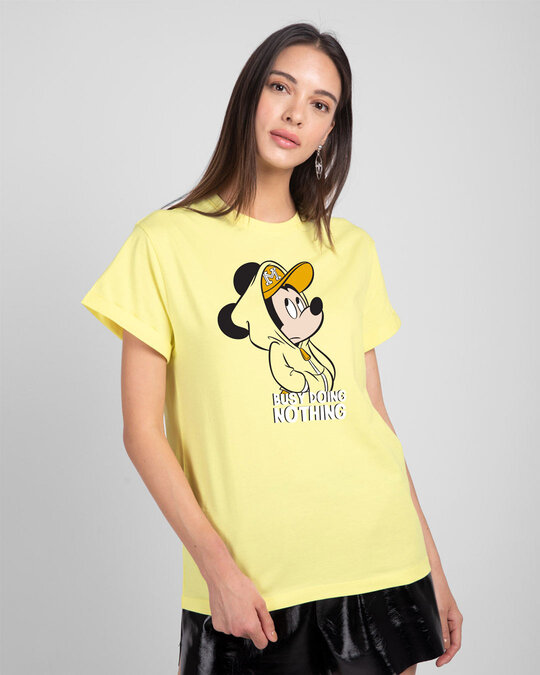 Shop Busy Doin Nothing Boyfriend T-Shirt (DL) Pastel Yellow-Front