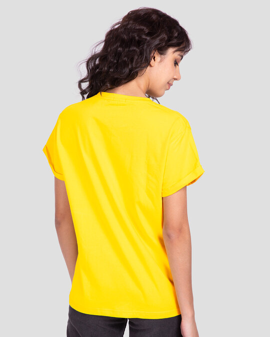 Shop Busy Doin Nothing Boyfriend T-Shirt (DL) Pineapple Yellow-Back