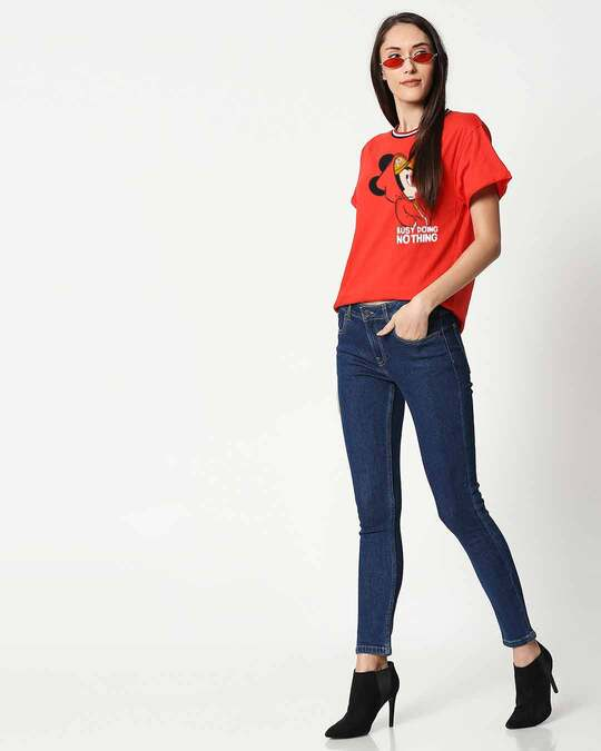 Shop Busy Doin Nothing Boyfriend Varsity Rib T-Shirt (DL) Multicolor-Full