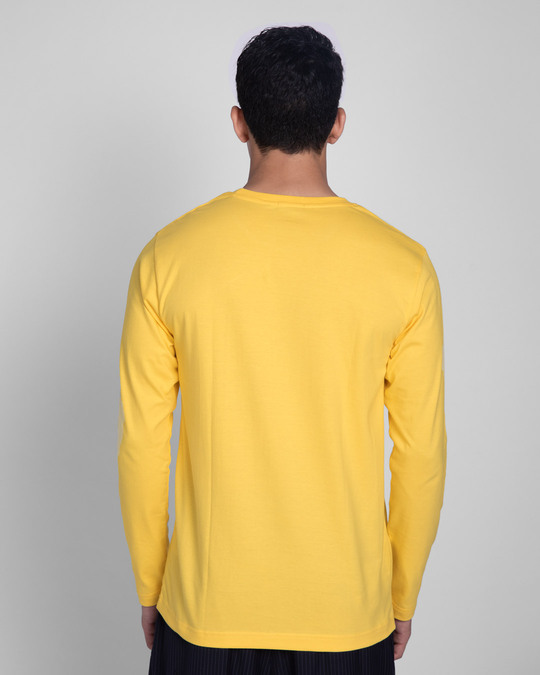 Shop Busy Doin Nothing Full Sleeve T-Shirt (DL) Summer Yellow-Back