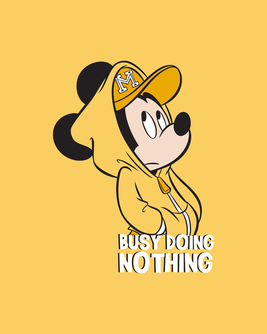 Shop Busy Doin Nothing Full Sleeve T-Shirt (DL) Summer Yellow-Full