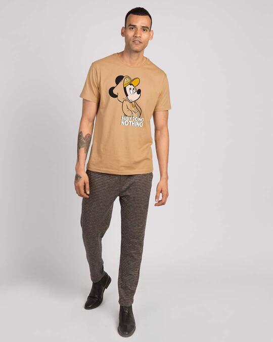 Shop Busy Doin Nothing Half Sleeve T-Shirt (DL)-Dusty beige-Design