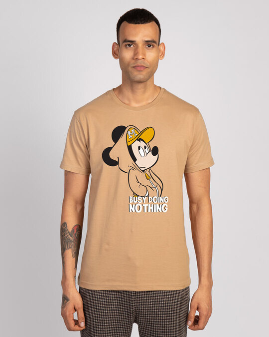 Shop Busy Doin Nothing Half Sleeve T-Shirt (DL)-Dusty beige-Front