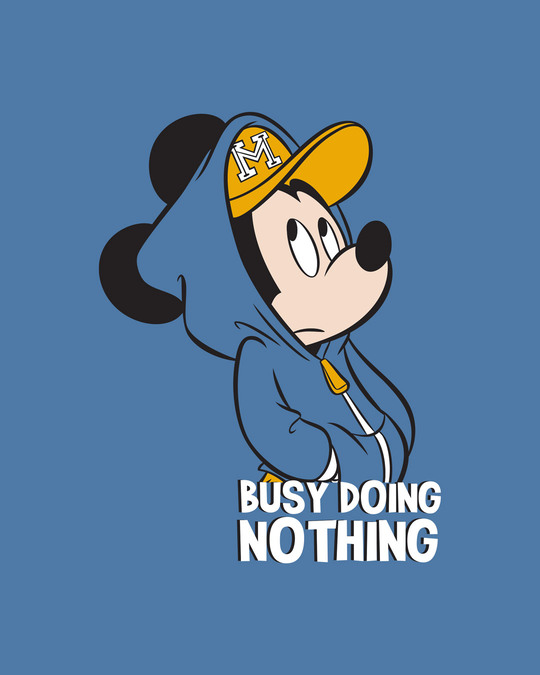 Shop Busy Doin Nothing Half Sleeve T-Shirt (DL)-Prussian Blue New-Full
