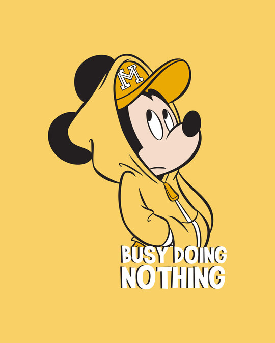 Shop Busy Doin Nothing Half Sleeve T-Shirt (DL) Summer Yellow-Full