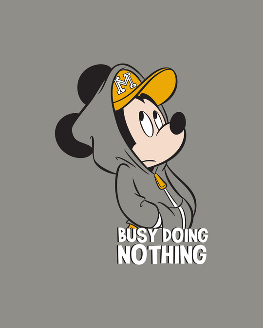 Shop Busy Doin Nothing Round Neck 3/4 Sleeve T-Shirts Meteor Grey