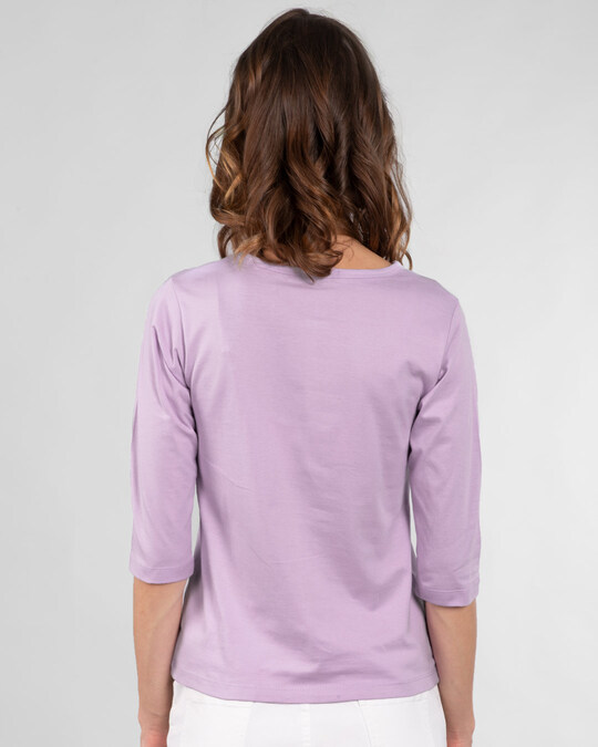 Shop Busy Doin Nothing Round Neck 3/4th Sleeve T-Shirt (DL) Lilac Breeze-Back