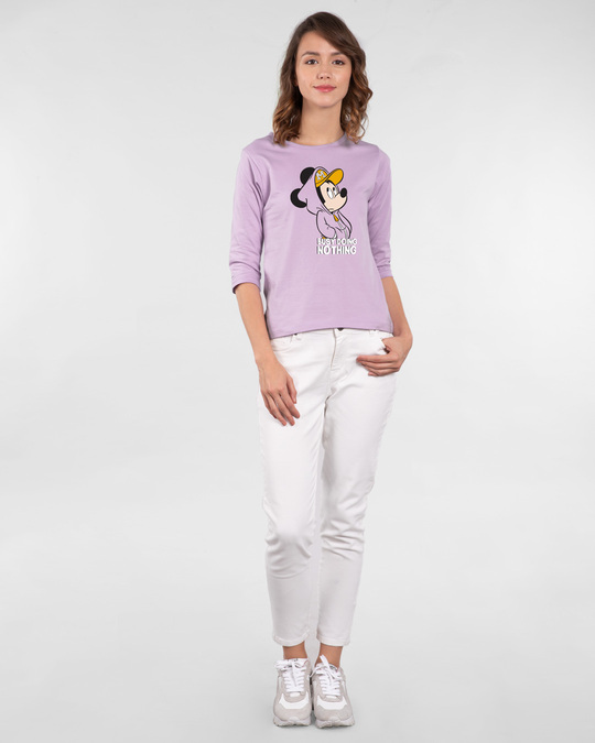 Shop Busy Doin Nothing Round Neck 3/4th Sleeve T-Shirt (DL) Lilac Breeze-Design