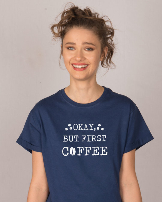 Shop But First, Coffee Boyfriend T-Shirt-Front