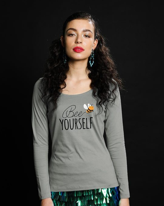 Shop Buzzing Bee Yourself Scoop Neck Full Sleeve T-Shirt-Front
