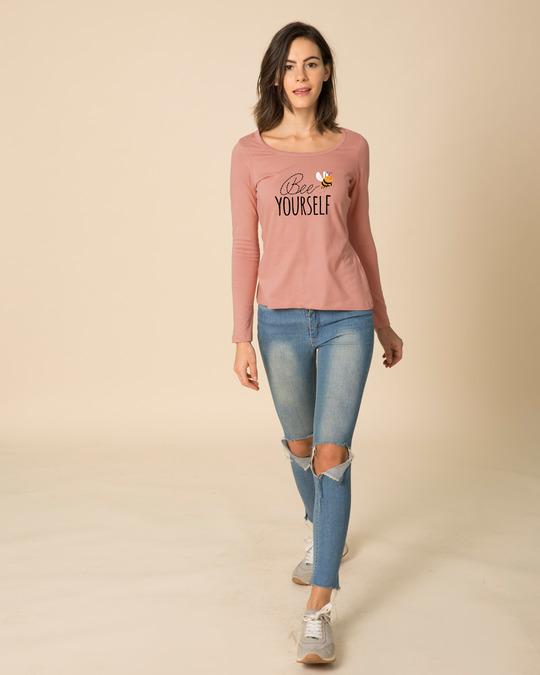 Shop Buzzing Bee Yourself Scoop Neck Full Sleeve T-Shirt-Design