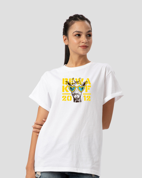 Shop BWKF Giraffe Boyfriend T-Shirt-Back