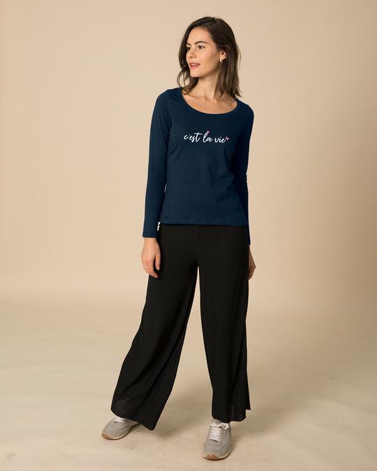 Shop C'est La Vie Scoop Neck Full Sleeve T-Shirt-Full