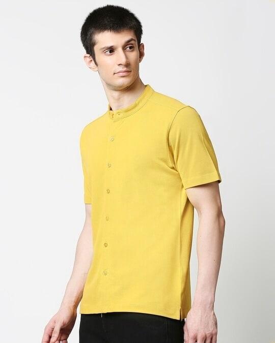 Shop Ceylon Yellow Mandarin Collar Half Sleeve Shirt-Back