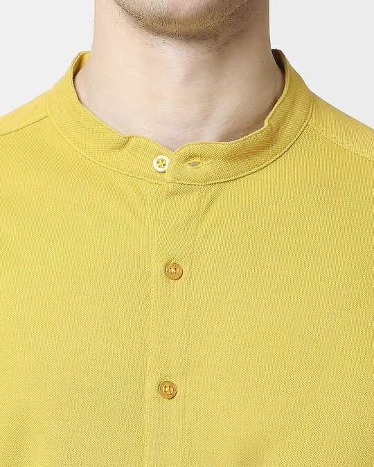 Shop Ceylon Yellow Mandarin Collar Half Sleeve Shirt