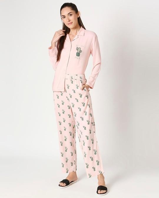 Shop Women's Pink Shirt & Printed Pyajama-Front