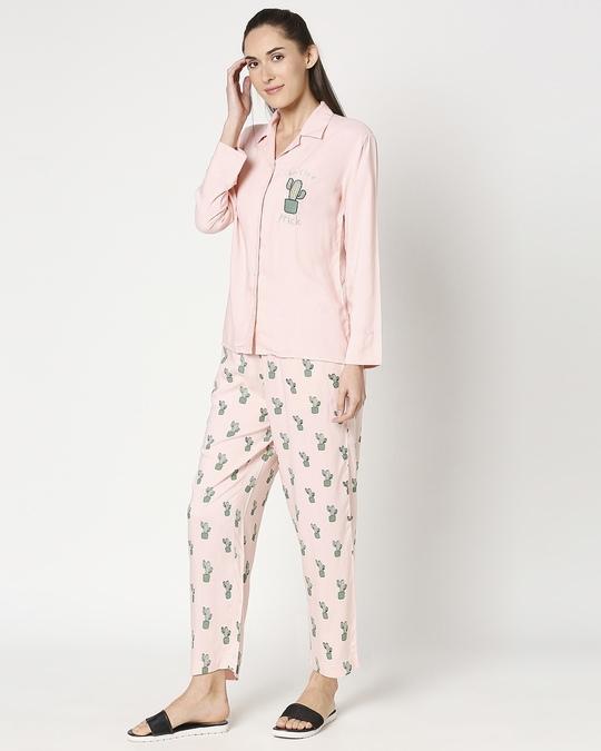 Shop Women's Pink Shirt & Printed Pyajama-Design