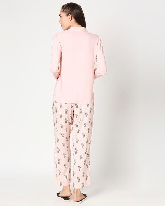 Shop Women's Pink Shirt & Printed Pyajama-Full