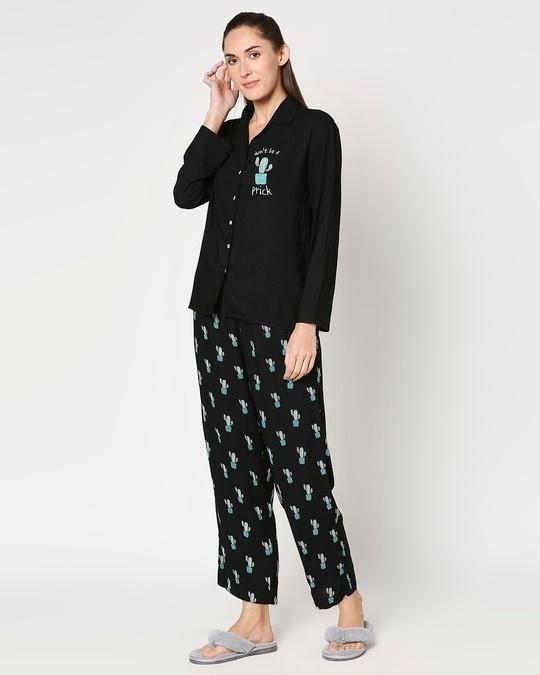 Shop Women's Black Shirt & Printed Pyajama-Design