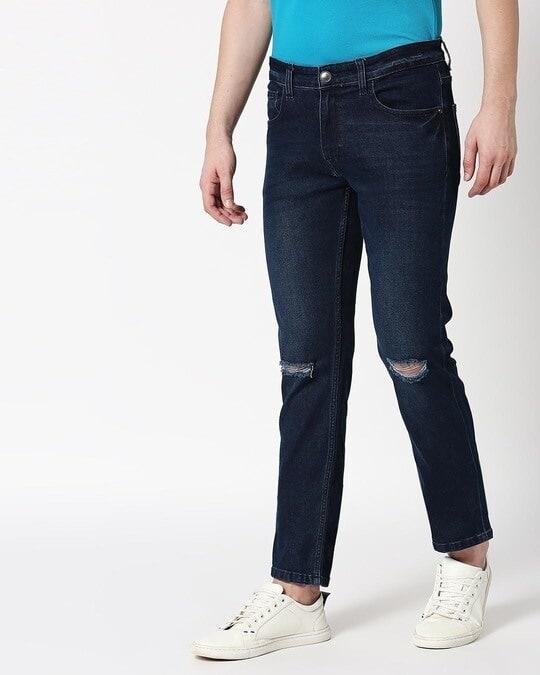 Shop Cadet Blue Distressed Mid Rise Stretchable Men's Jeans-Back