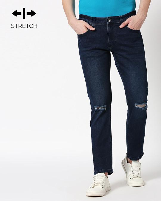 Shop Cadet Blue Distressed Mid Rise Stretchable Men's Jeans-Front