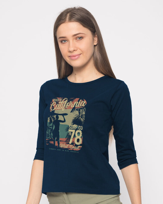 Shop California 78 Round Neck 3/4th Sleeve T-Shirt-Back