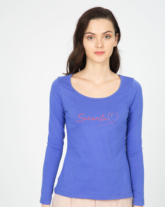 Shop Call Me Senorita Scoop Neck Full Sleeve T-Shirt-Front