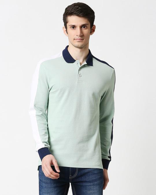 Shop Camo Green Shoulder Sleeve Cut & Sew Polo-Back