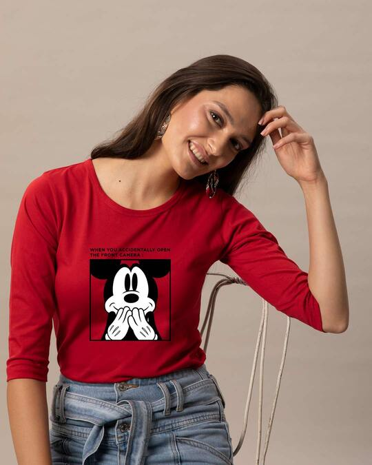 Shop Camera Mickey Round Neck 3/4 Sleeve T-Shirts (DL) Bold Red-Front