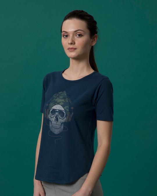 Shop Camo Beanie Basic Round Hem T-Shirt-Back