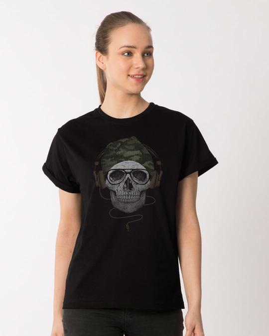 Shop Camo Beanie Boyfriend T-Shirt-Front